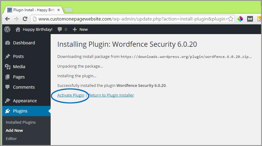 activate wordfence plugin