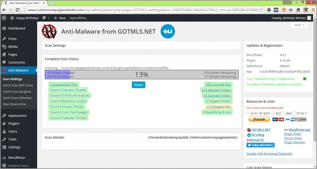 anti-malware scan in progress