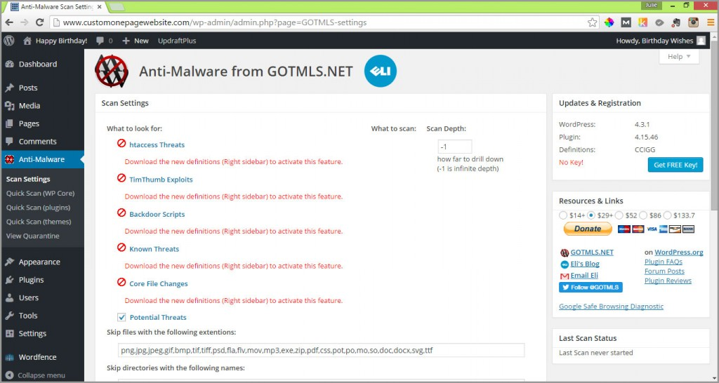 anti-malware plugin settings