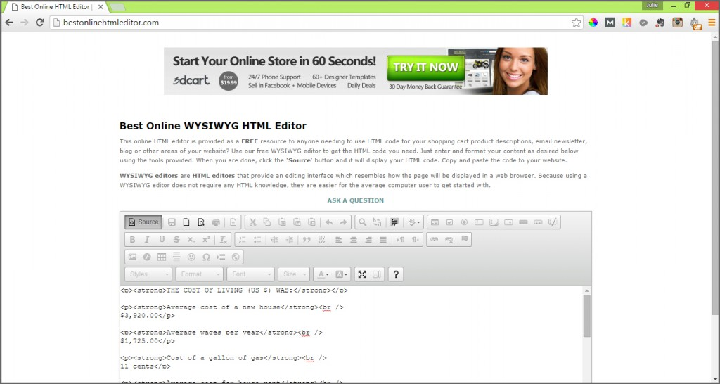 best online html editor source
