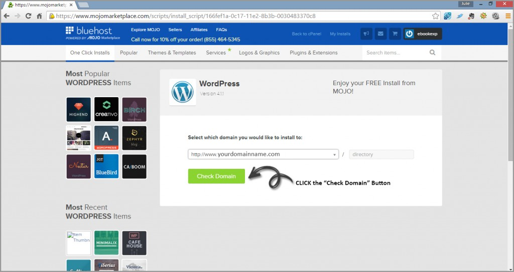 connect domain to wordpress install