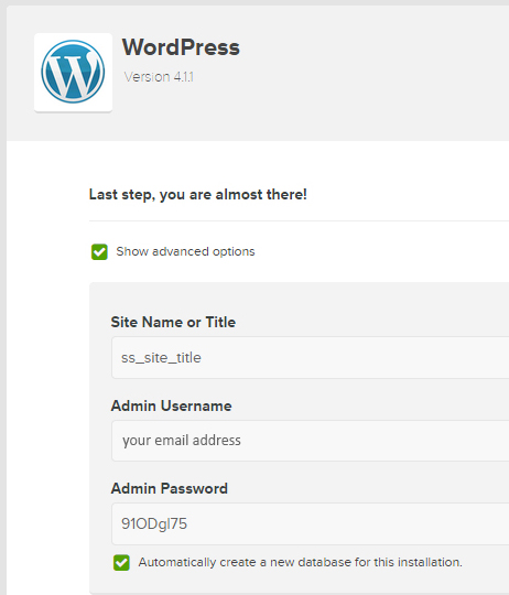 expanded view wordpress install