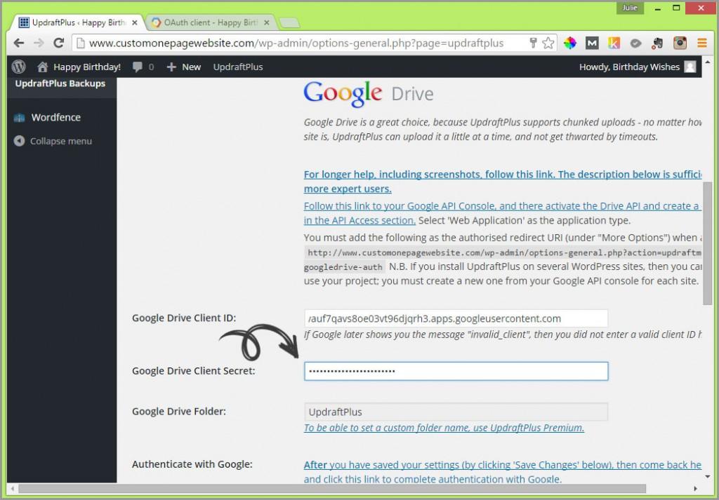google drive client secret field