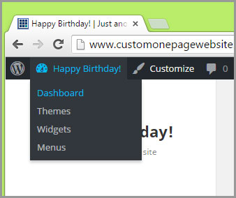 happy birthday dashboard menu
