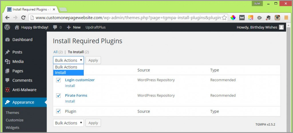 install required zerif plugins selected