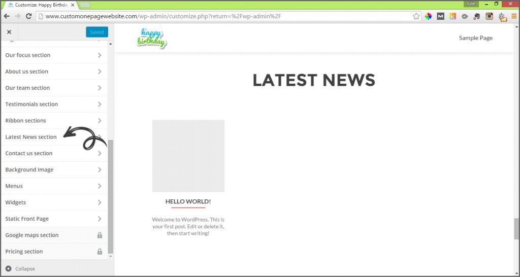 latest news menu label