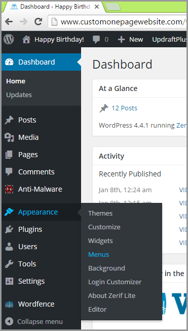 wordpress menu from dashboard