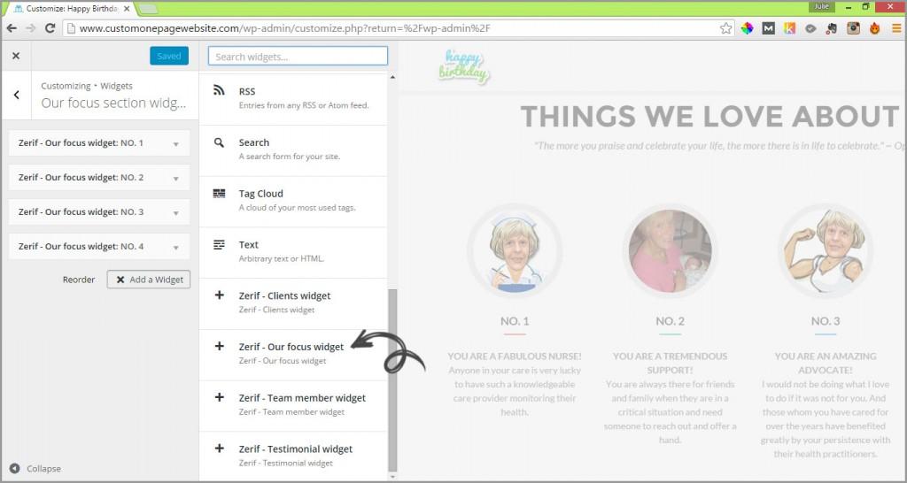our focus add widget