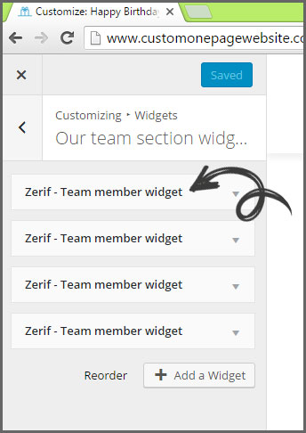 our team member widgets