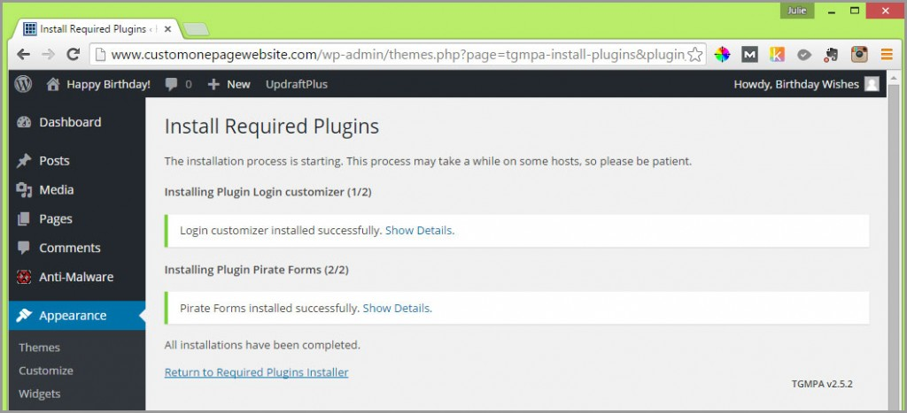 required zerif plugins installed
