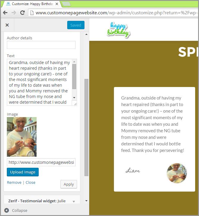 testimonial widget text and image