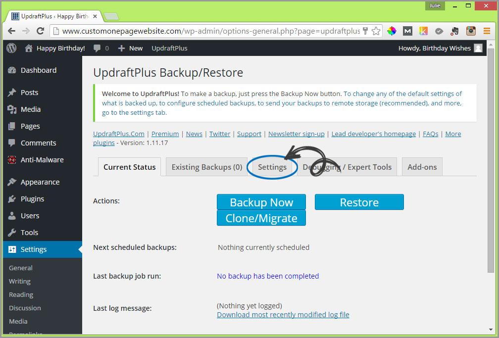 updraftplus settings tab