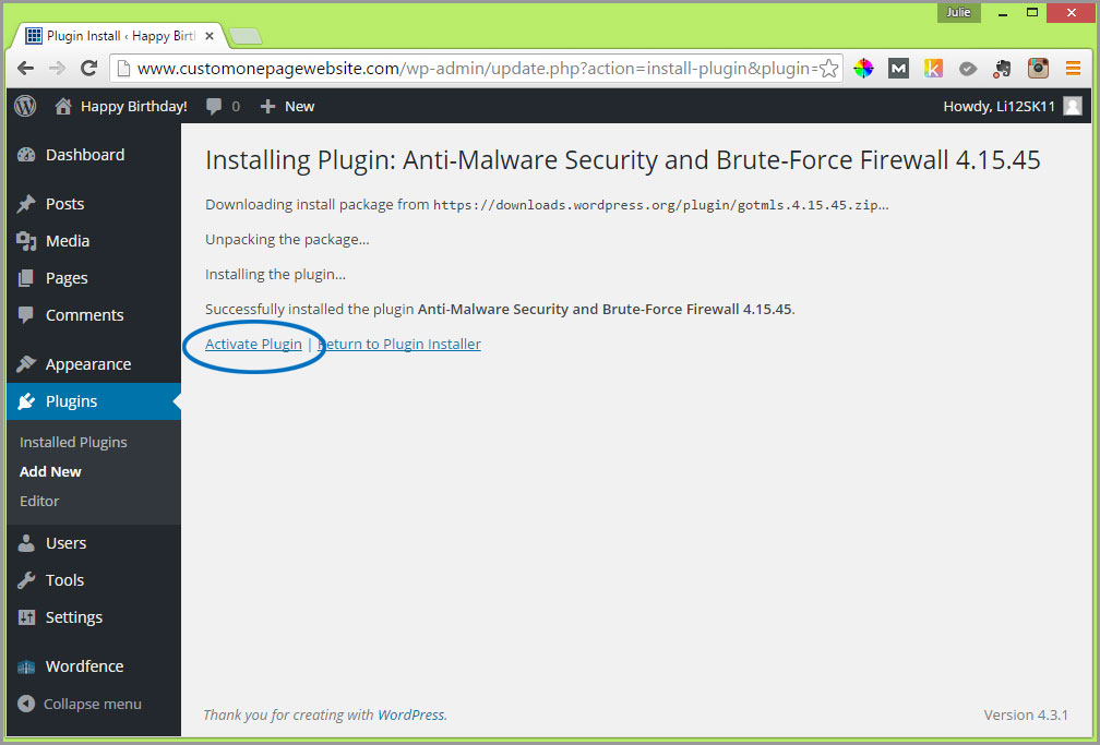 anti-malware activate plugin