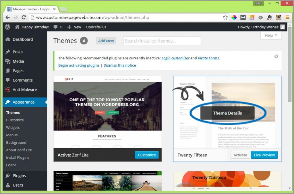 click theme details to delete