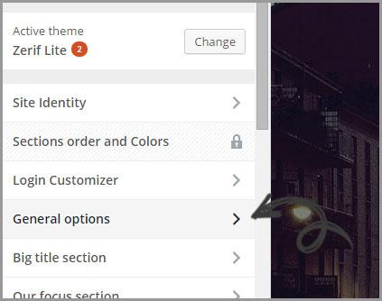 general options menu select