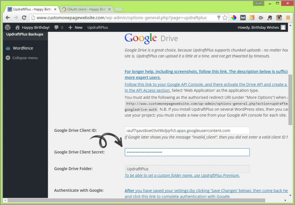 google drive client secret field