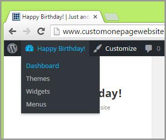 happy birthday dashboard menu