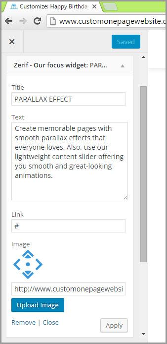 our focus parallax effect