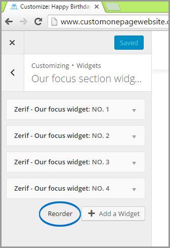 our focus widget reorder