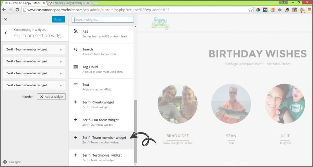 our team add widget