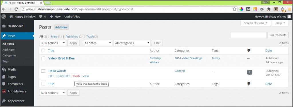 how to delete a wordpress post