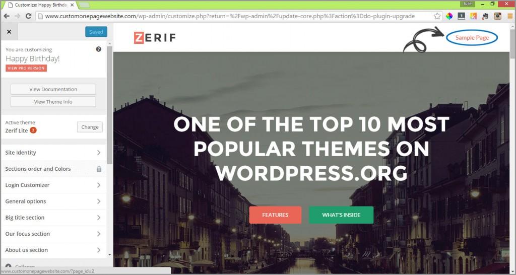 sample pages menu link
