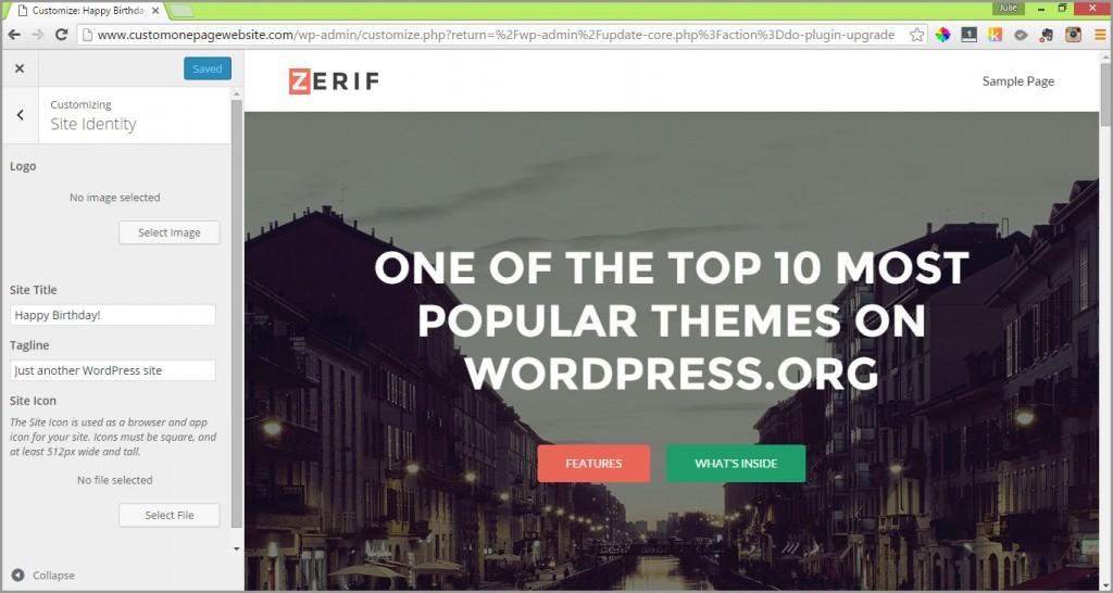 zerif site identity menu
