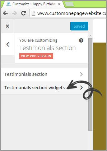 testimonials widget menu