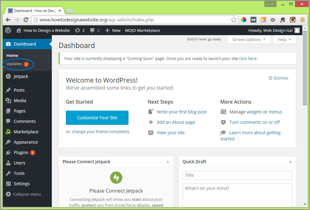 updates wordpress dashboard notification