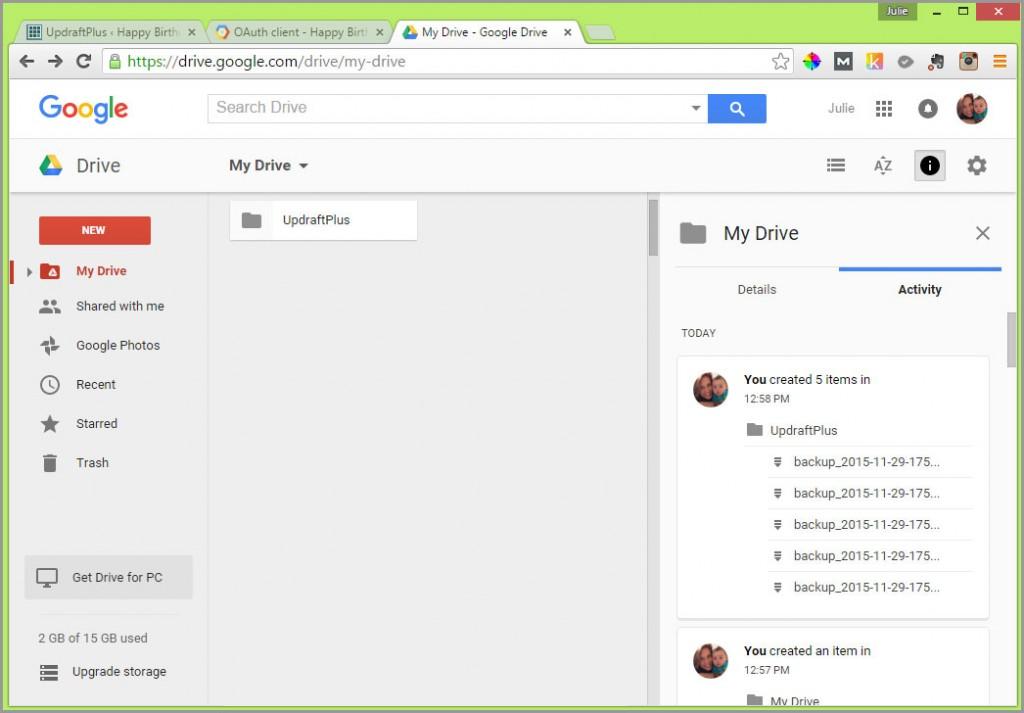 updraftplus google drive folder